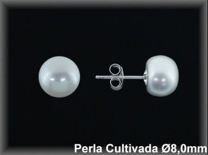 Pendientes plata de ley 925 Mls perla cultivada  blanca 8 mm. presión
