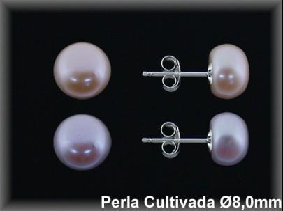 Pendientes plata de ley 925 Mls perla cultivada  color  8 mm. presión