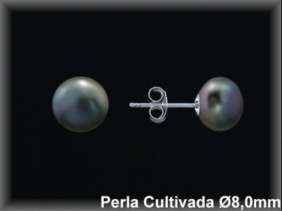Pendientes plata de ley 925 Mls perla cultivada  tahiti  8 mm. presión