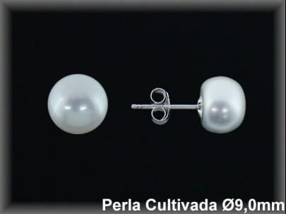 Pendientes plata de ley 925 Mls perla cultivada  blanca 9 mm. presión