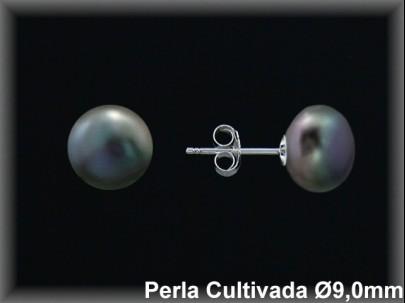 Pendientes plata de ley 925 Mls perla cultivada  tahiti  9 mm. presión
