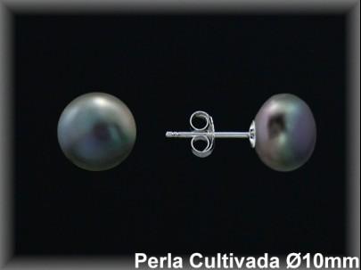 Pendientes plata de ley 925 Mls perla cultivada  tahiti  10 mm. presión