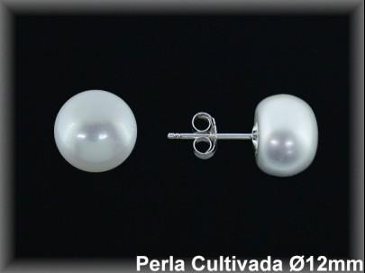 Pendientes plata de ley 925 Mls perla cultivada 11-12 mm.