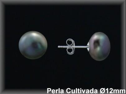 Pendientes plata de ley 925 Mls perla cultivada gris 11-12 mm.