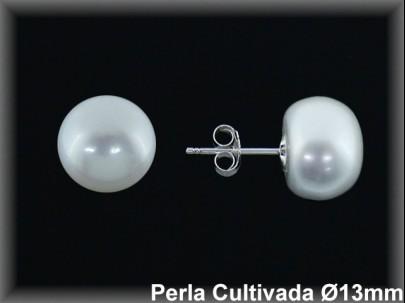 Pendientes plata perla cultivada blanca 13-14 MM