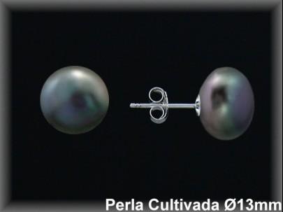 Pendientes plata de ley 925 Mls perla cultivada  tahití 13-14 MM. presión