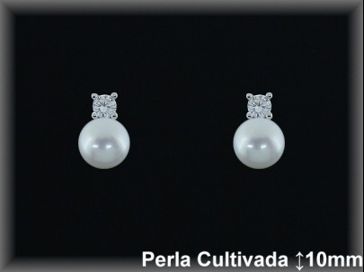 Pendientes plata de ley 925 Mls rodio perla cultivada  blanca/circonita ita-presion -