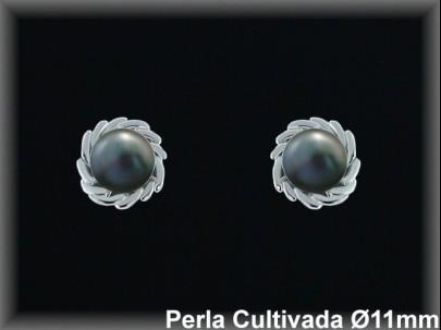 <p>Pendientes plata rod.perla cultiv.gris 10-11 mm/-pres.-</p>