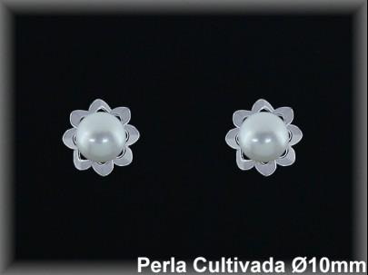 Pendientes plata de ley 925 Mls rodio perla cultivada blanca 10mm /-presion -