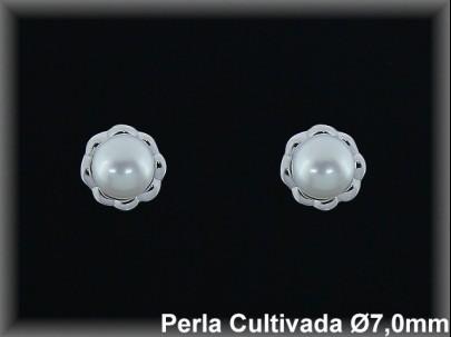 Pendientes plata de ley 925 Mls rodio perla cultivada blanca 7mm. /-presion -