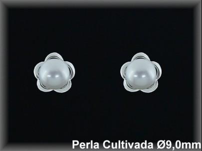 Pendientes plata de ley 925 Mls rodio perla cultivada blanca 9mm. /-presion -