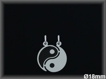 "<p>Colgantes plata lisa/esmalte"" yin-yang"" partido 18mm.</p>"