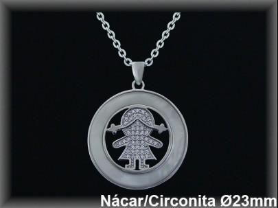 """Colgantes plata de ley 925 Mls rodio  nacar centro """"niña circ."""", 23mm.-cadena .3953br"""
