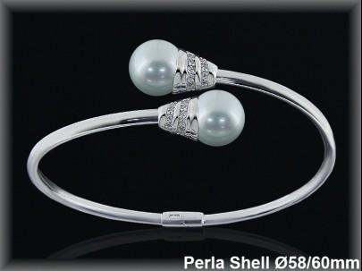 Pulseras plata rodio rigidas centro 2 perlas shell  blancas 10 mm