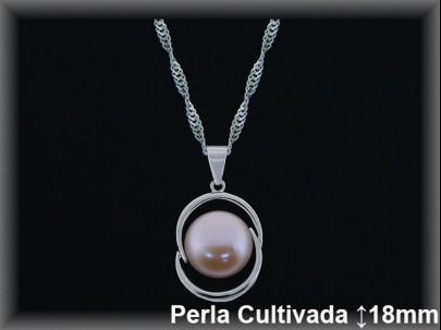 Colgantes plata rod perla  cultivada     color 16mm..cad 7396ar