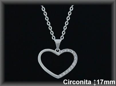 "<p>Colgantes plata rodio silueta ""corazón""circonita 21mm.- cad.7330AR</p>"