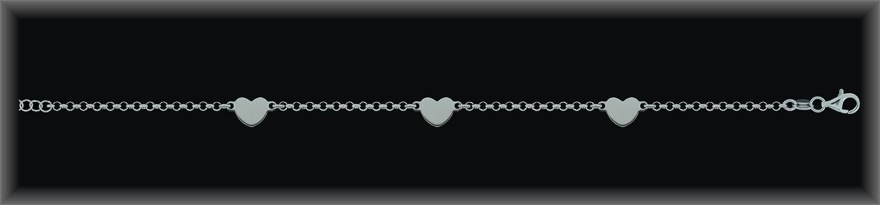 Pulseras Plata 925 tres placas corazon cadena rolo ref 9L096