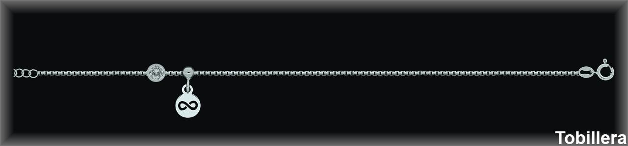 Tobilleras Plata circonita infinito cadena ref 9Z302 Movegranada