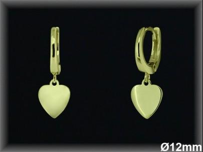 Aros Plata 925 chapada oro 12 mm fetiche corazon ref AL089C Movegranada
