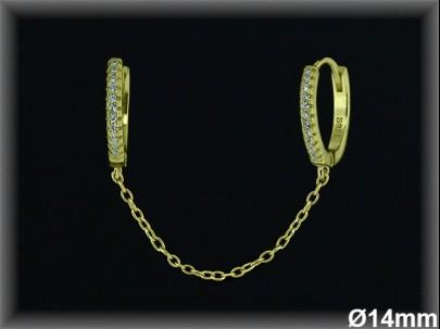 Aro doble cadena 925 chapada circonitas ref AZ110C Movegranada