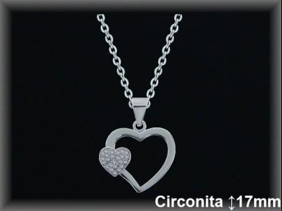 Colgantes plata rodio silueta doble corazón liso/circ. 17mm. cad. 7330ar.