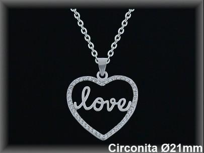 "Colgantes plata rodio  circonita  corazón silueta ""love""21mm. cad. 7330br."