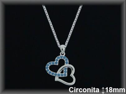 "Colgantes plata lisa ""2 corazones"" liso/circ.turqu.16x18mm cad.7301a"