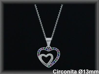 """Colgantes plata rodio  """"2 corazones"""" liso/circ.color13x13mm- cad.7305ar/br"""