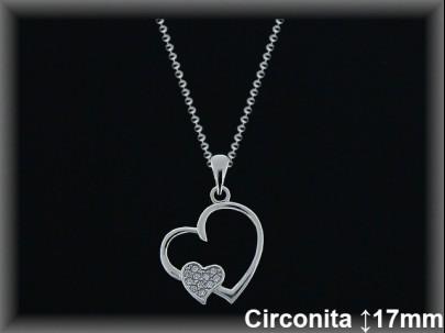 """Colgantes plata rodio  """"2 corazones"""" liso/circ.15x17mm- cad.7305ar/br"""