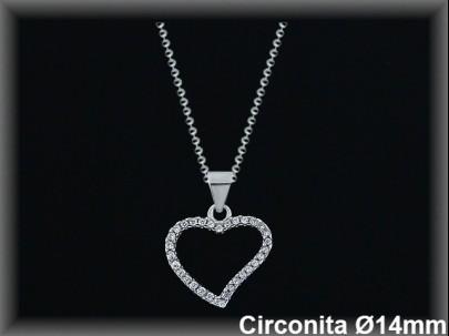 Colgantes plata rodio silueta corazón de circ.14X14mm.- cad.7305ar/br