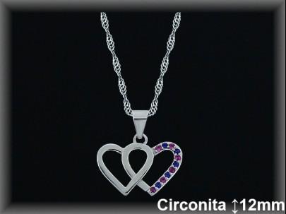 """Colgantes plata rodio  """"2 corazones"""" liso/circ.color12X15mm- cad.7390ar/br"""