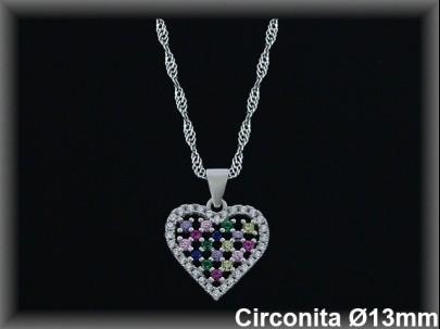 """Colgantes plata  rodio  """"corazón"""",circonita  color 13mm.Ø- cad.7390ar/br"""