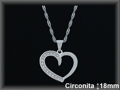 "<p>Colgantes plata rodio silueta ""corazón""circonita 18x19mm.- cad.7390AR</p>"