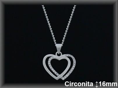 Colgantes plata rodio silueta doble corazón liso/circ.16X17m.- cad.7305BR