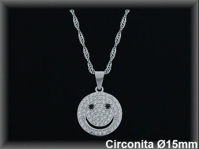 "Colgantes plata rodio circ. blanca /azul ""carita sonriente"" 15mm. cad. 7390br."