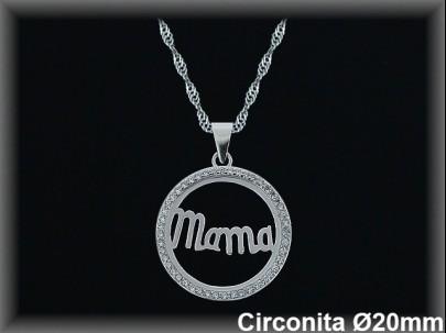 "Colgantes plata rodio  bocel..circonita  redondo  ""mamá"" 20mm.Ø- cad.7390ar"