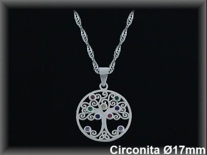 """Colgantes plata rodio circonita  color """"árbol de la vida"""" 17mm.cad.7390ar."""