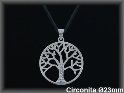 "Colgantes plata rodio circ. ""árbol de la vida"" 23mm.Ø-coredonda 7262B"