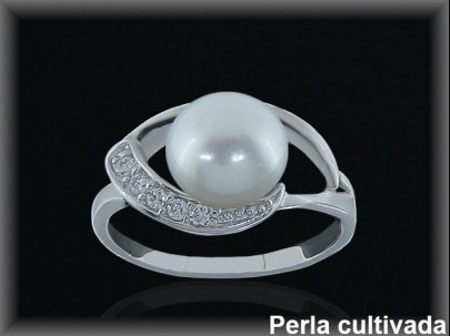 Anillo plata rodio perla  cultivada     blanca circonitas