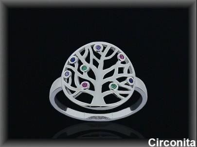 """Anillo plata rodio  """"árbol de la vida""""circonitas colores."""