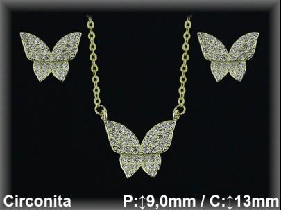 Conjunto plata chapado oro mariposa circonitas/gargant.