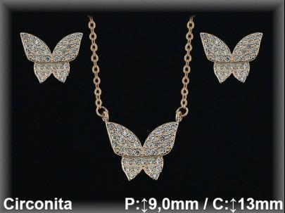 Conjunto plata chapado   oro rosa mariposa circonitas/gargant.