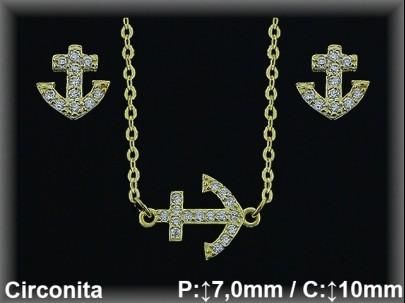 Conjunto plata chapado oro ancla circonitas/gargant.