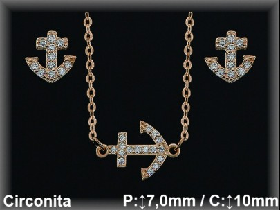 Conjunto plata chapado oro rosa ancla circonitas/gargant.