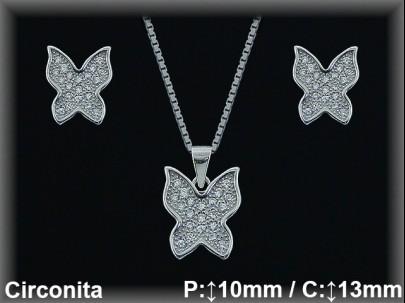 Conjunto plata rodio mariposas circonita 8x10/11x13mm.cad 7300ar