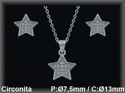 """Conjunto plata rodio  """"estrella"""" circonita  presión 7.5/13mm. cad7330ar"""