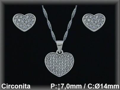 """Conjunto plata rodio """"""""corazón"""" circonita 6/12.5mm.cad.7390ar"""