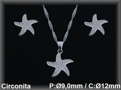 """Conjunto plata rodio  """"estrellas""""circonita  presión 9x12mm.cad.390ar"""