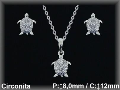 """Conjunto plata rodio  """"tortuga"""" circonita  presión 8/12mm. cad7330ar"""