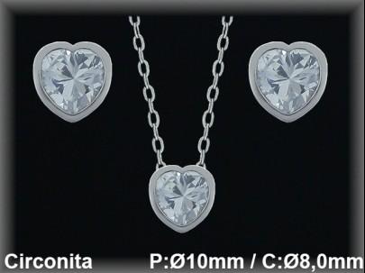 """Conjunto plata rodio  """"circonita  corazón"""" presión 8/10 mm.Ø/+cad."""